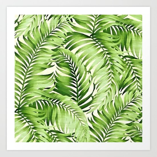 Greenery palm leaves Art Print