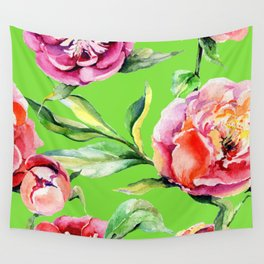 Pink Peonies On Bright Spring Green Wall Tapestry