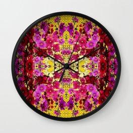 MELANGE OF PINK & RED HOLLYHOCKS YELLOW GARDEN Wall Clock