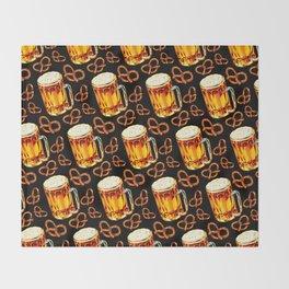 Beer & Pretzel Pattern - Black Throw Blanket