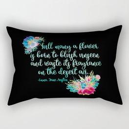 Jane Austen Quote - Flowers on Black Rectangular Pillow