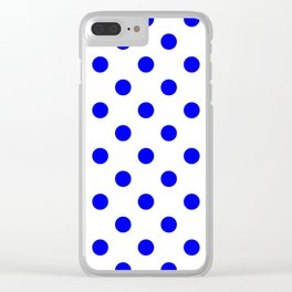 Polka Dots - Blue on White Clear iPhone Case