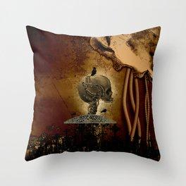 Mechanical skull Throw Pillow