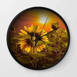 Sunflowers facing the Sunset Wall Clock