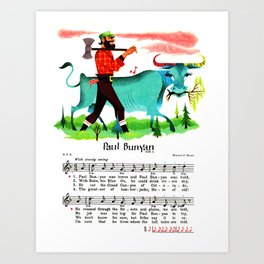 Paul Bunyan The Lumberjack, Canadian-American Folklore Hero Art Print