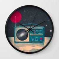 radio Wall Clocks featuring Space Radio by Victor Vercesi