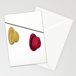 isolated colorful hats hanging at the party Stationery Cards