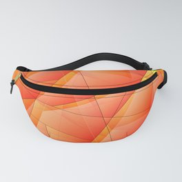 Abstract pattern of orange and overlapping plates of triangles and irregularly shaped lines. Fanny Pack