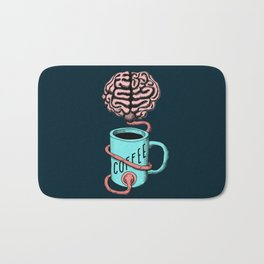 Coffee for the brain. Funny coffee illustration Bath Mat