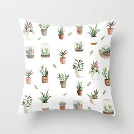 Succulent and Cacti pots and terraniums Throw Pillow