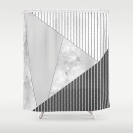 Valencia 4. Abstract grey, white geometric pattern. Shower Curtain