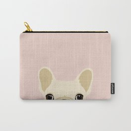 French Bulldog Peek - Cream on Pale Pink Carry-All Pouch