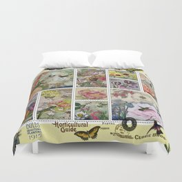 Enchanted Garden Postal Collage Duvet Cover