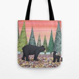 black bears & evergreens Tote Bag
