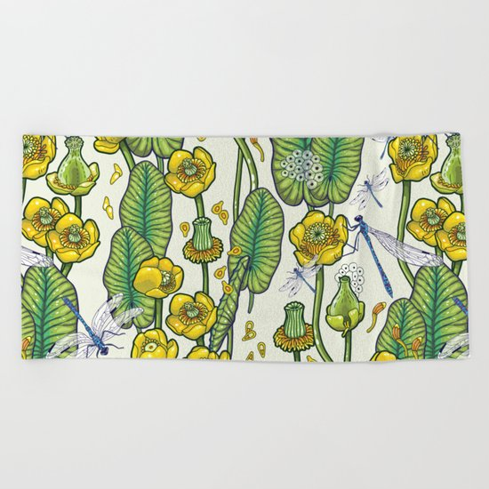 yellow water lilies and dragonflies Beach Towel