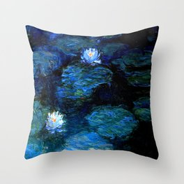 monet water lilies 1899 blue Teal Throw Pillow