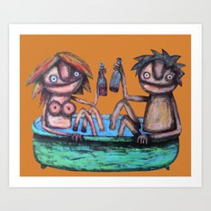 In the bath Art Print