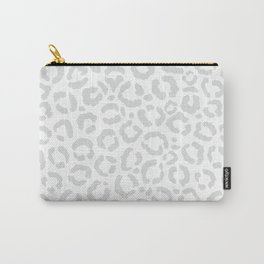 Elegant White Gray Leopard Cheetah Animal Print Carry-All Pouch