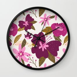 forest florals in pinks on cream Wall Clock