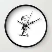 stiles stilinski Wall Clocks featuring Stiles Stilinski Team Human by aredblush