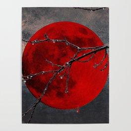 Modern Blood Red Moon Rain Gothic Decor A175 Poster