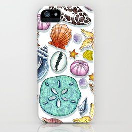 Illustrated Seashell Pattern iPhone Case