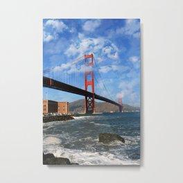 California Republic Bear in the Clouds of the Golden Gate Bridge Metal Print