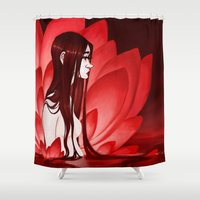 lotus flower Shower Curtains featuring Lotus by CazArts