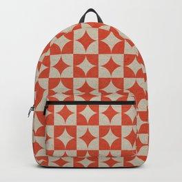 Retro diamond geometric shape on checked background hand drawn illustration pattern Backpack