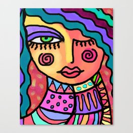 Happy Abstract Portrait of a Woman Canvas Print