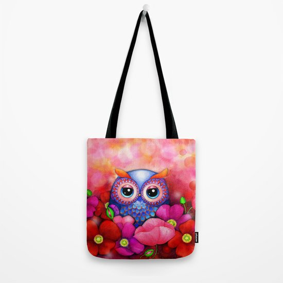 Owl in Poppy Field Tote Bag