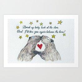 Between the Capybars Art Print