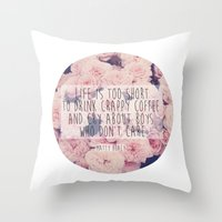 matty healy Throw Pillows featuring Matt Healy Quote by Samantha