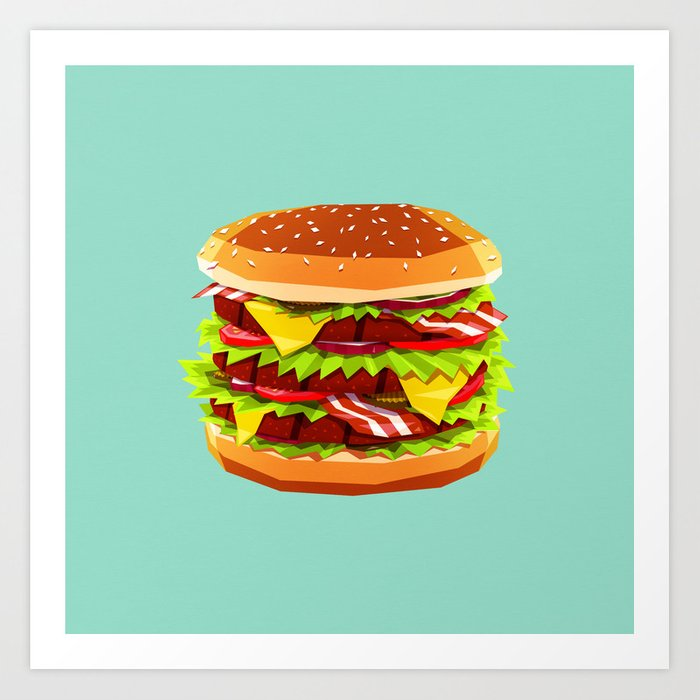 Discover the motif BURGERTIME! by Yetiland as a print at TOPPOSTER
