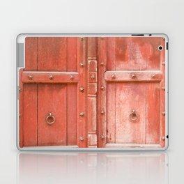Ancient red wooden door in Agra, Uttar Pradesh, India Laptop & iPad Skin