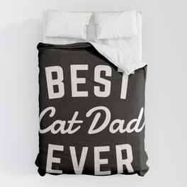 Best Cat Dad Ever Black Comforters