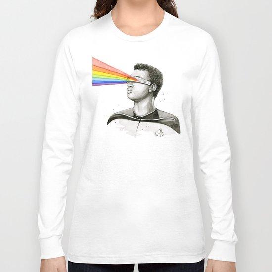 Geordi Rainbow Watercolor Portrait Geek Sci-fi Long Sleeve T-shirt