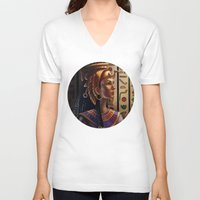 egyptian V-neck T-shirts featuring Egyptian by Ayu Marques