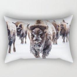 Bison Herd Through The Snow Rectangular Pillow