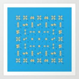 Orbitals | Chemistry | Surreal | Science Pattern | Blue Art Print
