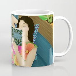 Women Who Read Are Dangerous- Woman reading plant filled room Coffee Mug