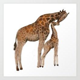 Mom and daughter giraffe Art Print