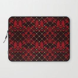 Retro .Vintage . Black red openwork ornament . Laptop Sleeve