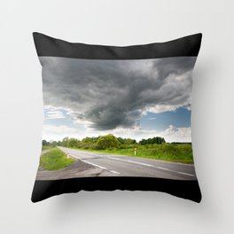 Biebrza road landscape Throw Pillow