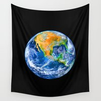 earth Wall Tapestries featuring Earth by Marble Trouble