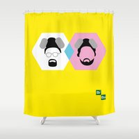 jesse pinkman Shower Curtains featuring Breaking Bad | Walter White & Jesse Pinkman by Charlotte Batsford