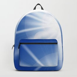 Sun rays and light effects on blue sky. Backpack