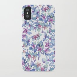 Colorful Watercolor Leaf Pattern iPhone Case