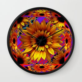 GOLDEN SUNFLOWERS  RED-VIOLET AESTHETIC PATTERN Wall Clock
