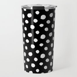 Minimal - white polka dots on black - Mix & Match with Simplicty of life Travel Mug